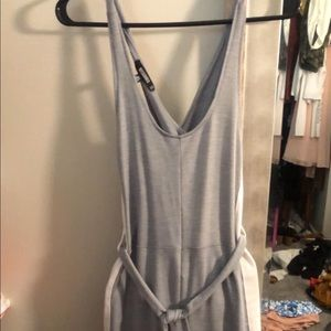Gray and white jumpsuit